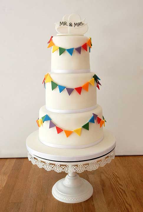Rainbow Bunting Wedding Cake