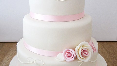 3 Tier Pink And Ivory Wedding Cake The Cakery Leamington Spa
