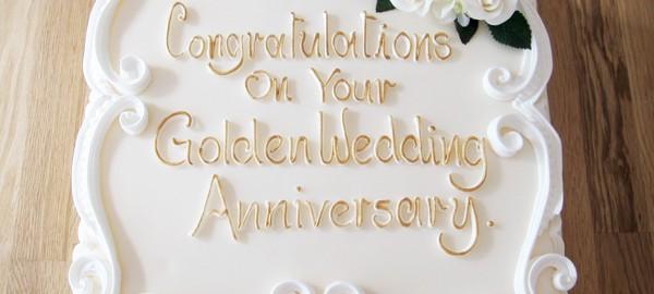 Classic Golden Wedding Anniversary cake