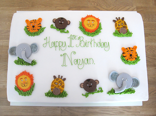Jungle Animals Large Birthday Cake