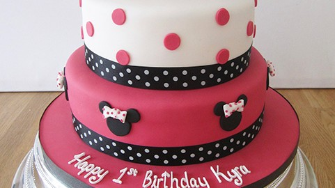 Mini Mouse 2 Tier Birthday Cake