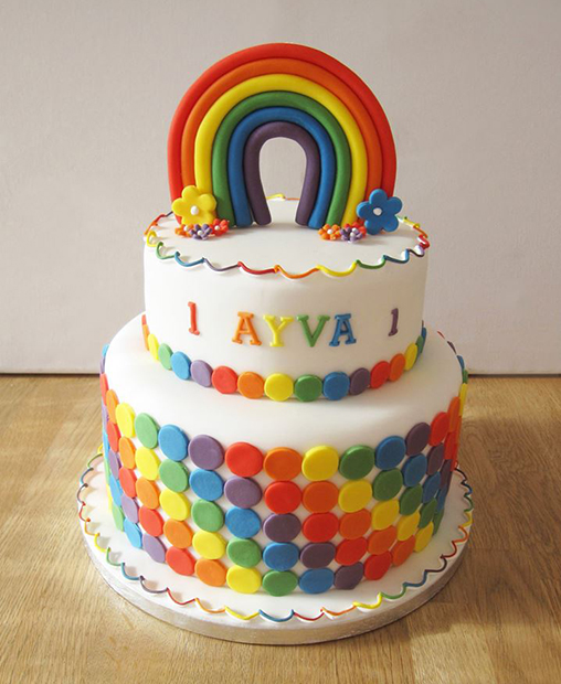Rainbow 2 Tier Birthday Cake