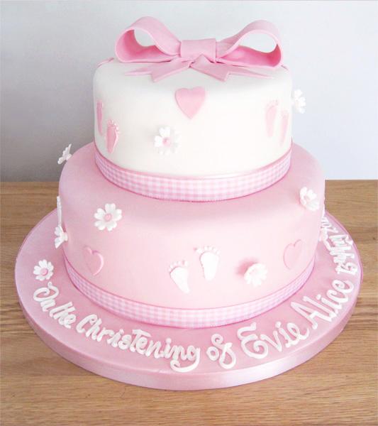 2 Tier Pink Christening Cake