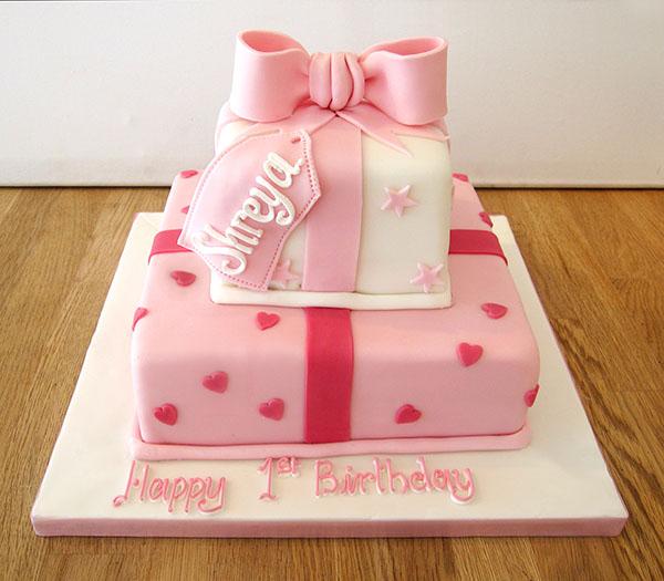 2 Tier Pink Parcel Cake