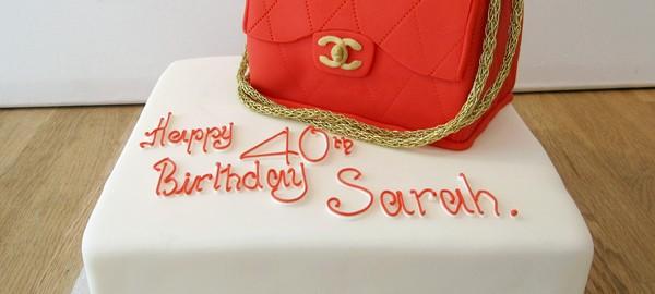 Red Chanel Handbag Cake