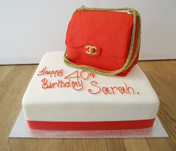 Red Chanel Handbag Cake