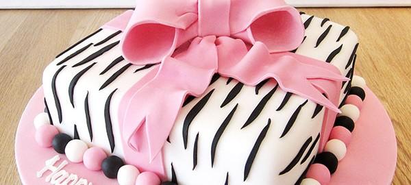Zebra and Pink Birthday Cake