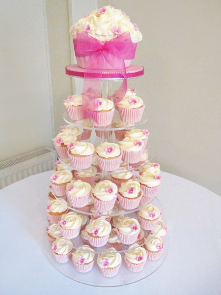 Girly Pink Cupcake Tower with Giant Cupcake