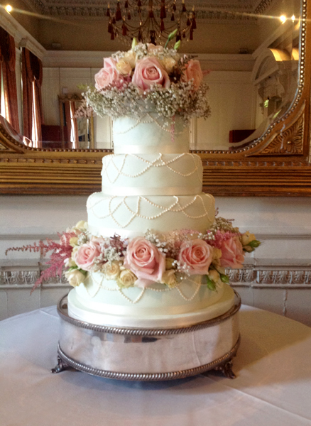 Pistachio Wedding Cake With Rustic Pink Flowers The