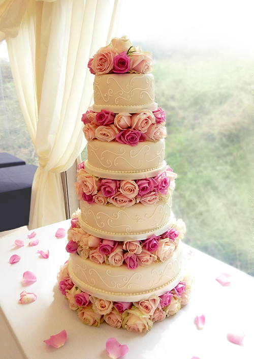 Wedding Cake with Pink and Fuscia Roses