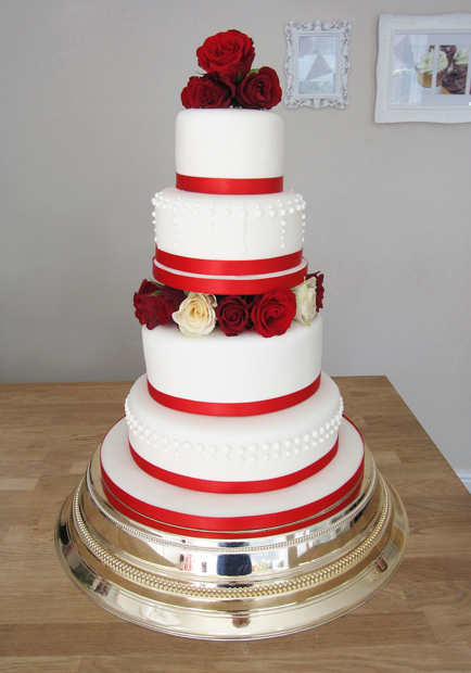 Wedding Cake with Red and Ivory Roses