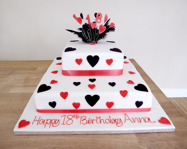 Black and Red Hearts Cake