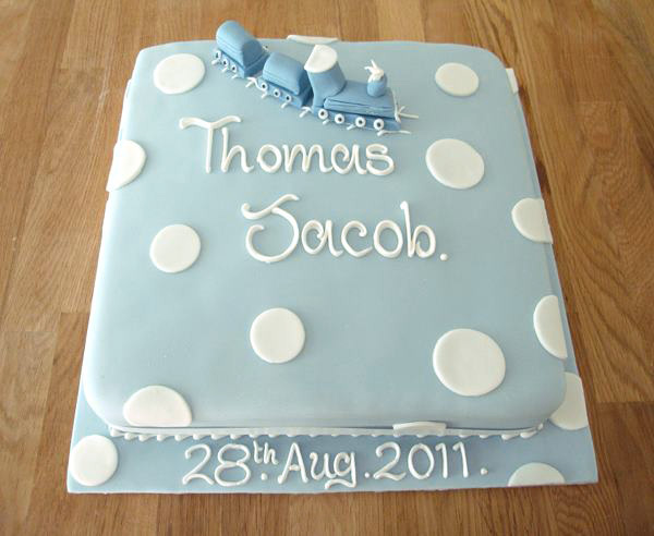 Boy's Blue Christening Cake