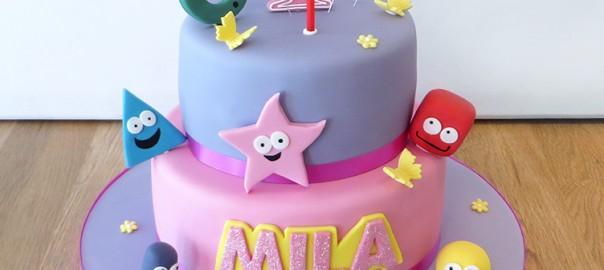 1st Birthday Shape Characers Cake