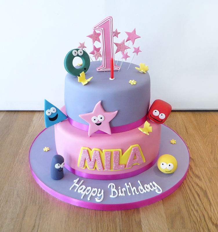 1st Birthday Shape Characers Cake