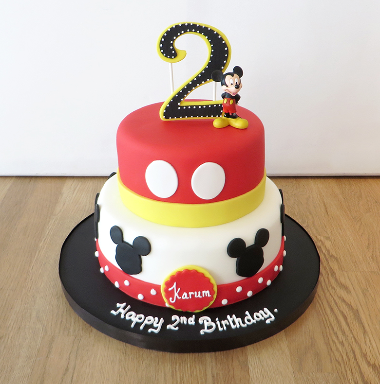 Awe Inspiring 2 Tier Mickey Mouse Birthday Cake The Cakery Leamington Spa Funny Birthday Cards Online Fluifree Goldxyz