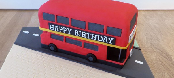 Red Double Decker Bus Birthday Cake