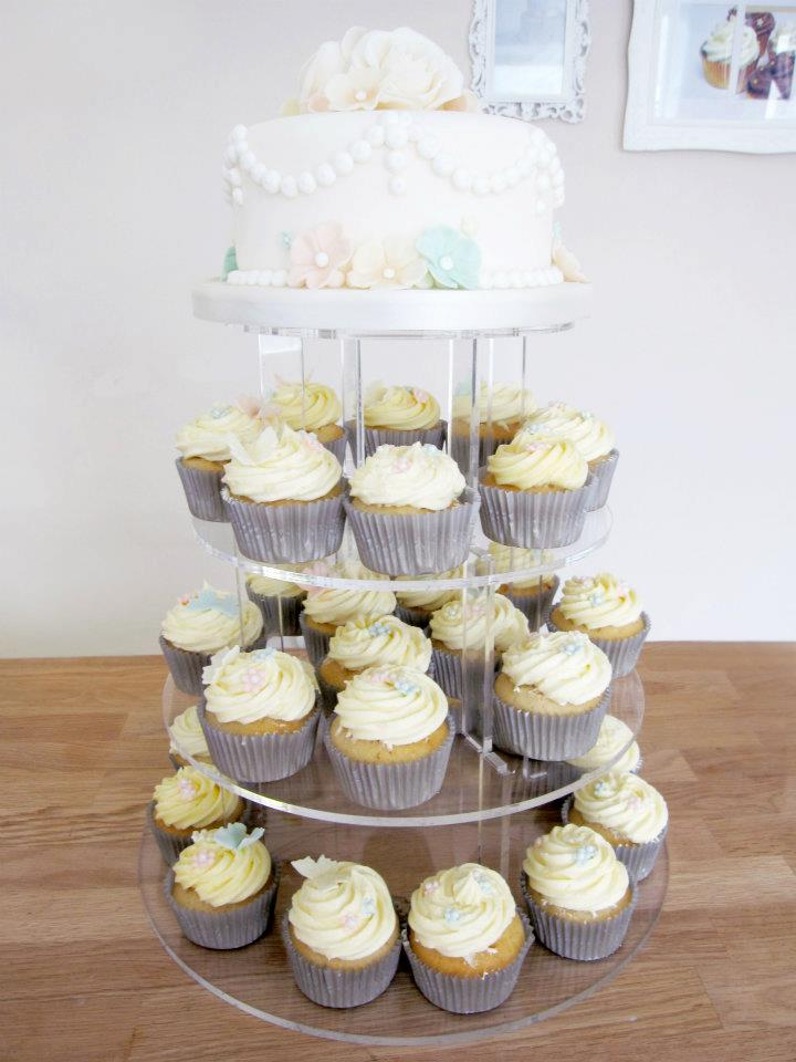 Vintage Wedding Cake with Cupcake Tower