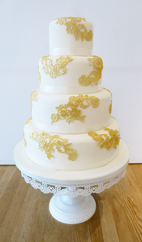 Wedding Cake with Gold Pattern Detail