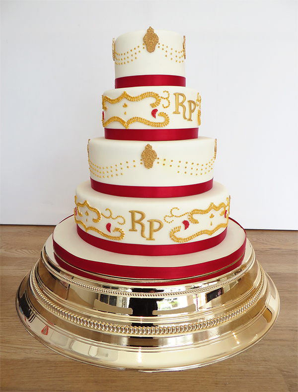 Asian Wedding Cake in Red and Gold