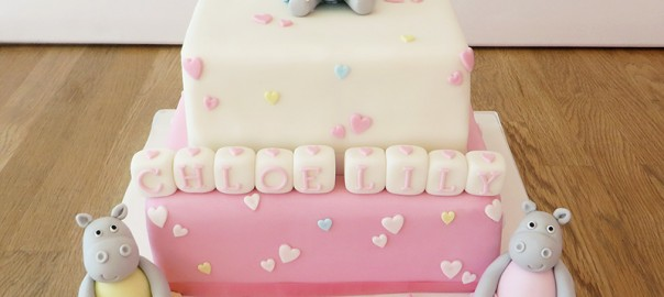 Hippo Christening Cake