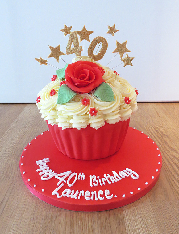 40th Giant Cupcake With Red Flowers