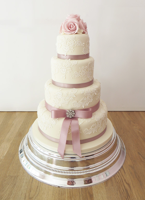Wedding Cake With Lace And Dusky Pink Ribbon The Cakery Leamington Spa