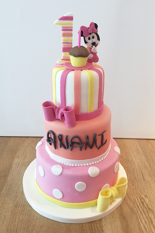 Wondrous 3 Tier Minnie Mouse Cake The Cakery Leamington Spa Personalised Birthday Cards Veneteletsinfo