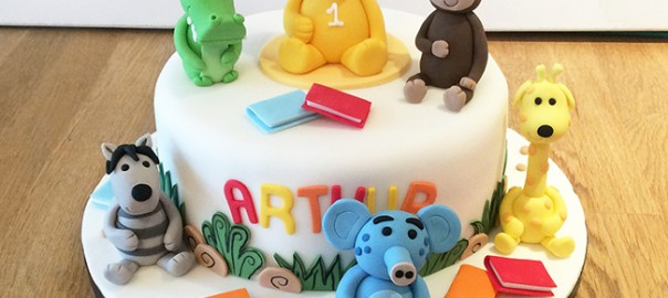 Animals 1st Birthday Cake