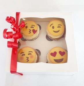 Emoji Valentines Cupcakes Box of 4