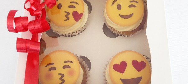 Emoji Valentines Cupcakes Box of 4