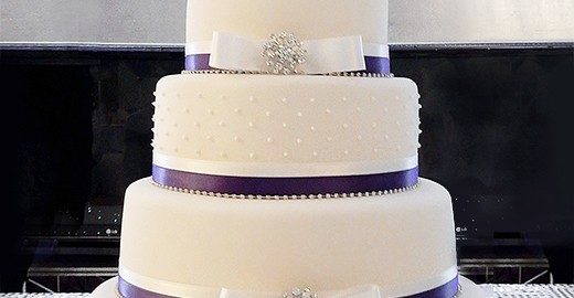 5 Tier Wedding Cake with Purple Ribbon and Diamantes