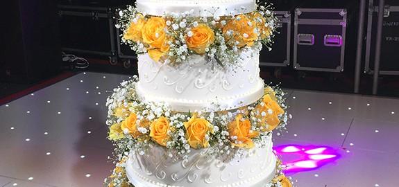 Asian Wedding Cake with Orange Roses