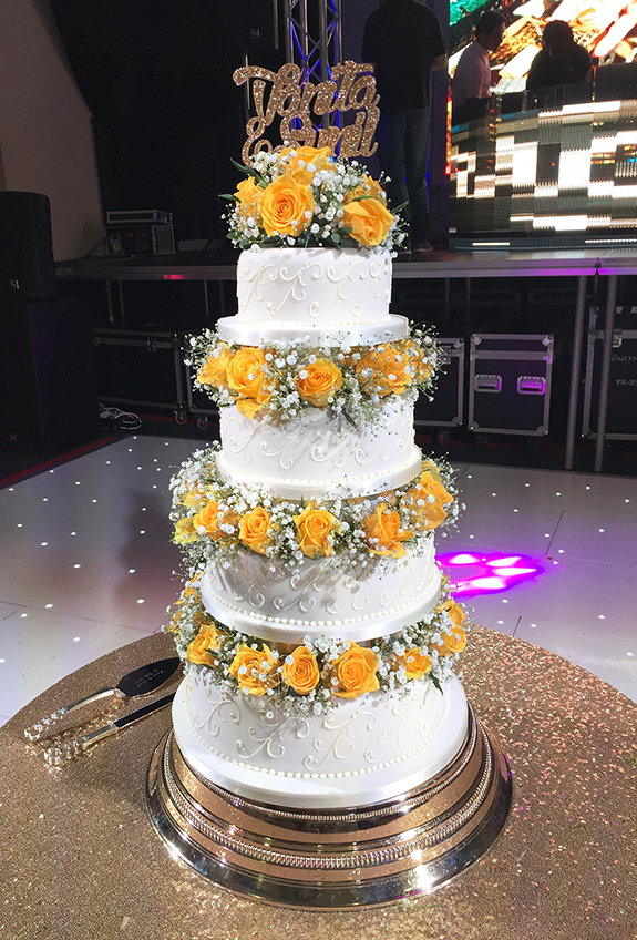Asian Wedding Cake with Orange Roses