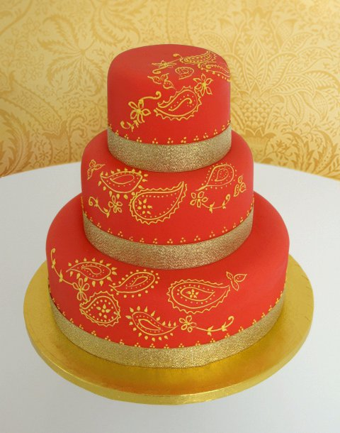 Henna Patterned Wedding Cake