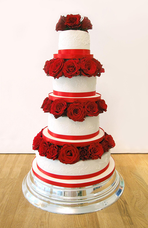 4 Tier Wedding Cake with Large Red Roses