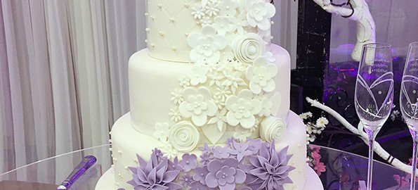 5 Tier Cake with Purple Cascading Flowers