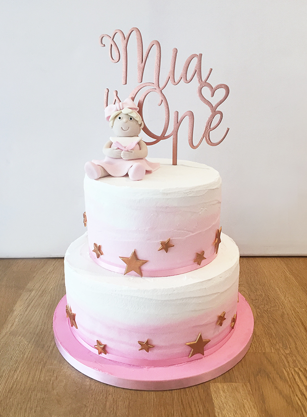 Excellent Pink Ombre First Birthday Cake The Cakery Leamington Spa Personalised Birthday Cards Rectzonderlifede