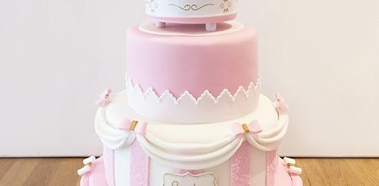 Pink & White Carousel Cake