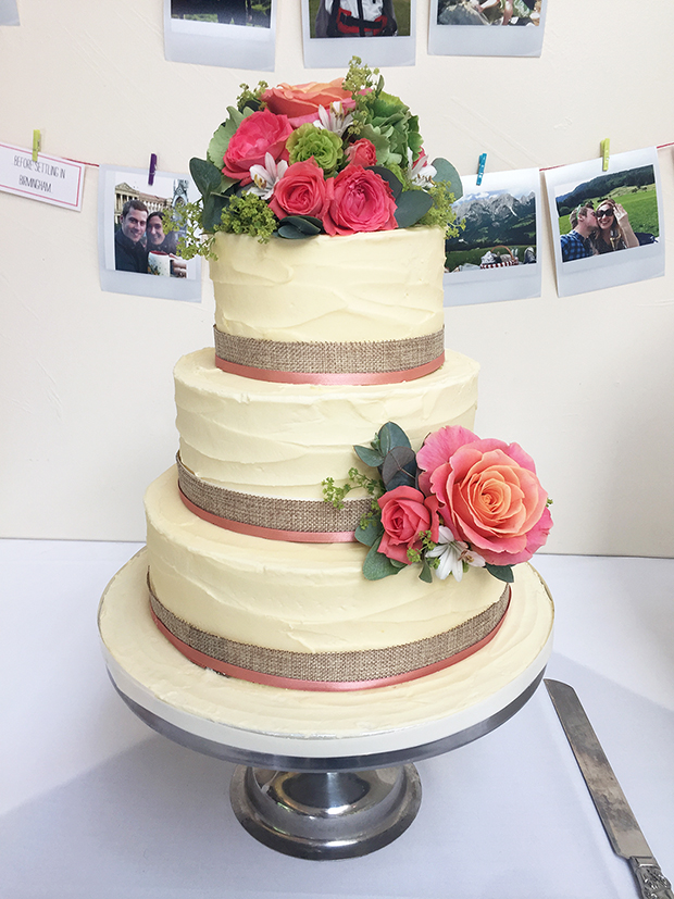 Rustic Wedding Cake with Bright Pink Flowers