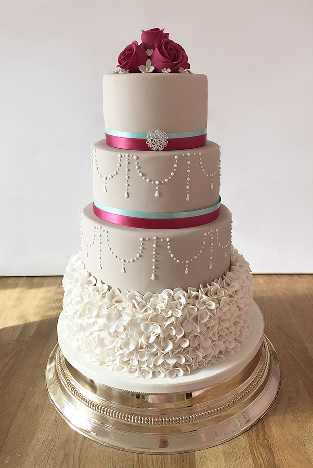 Wedding Cake with Ruffles and Pearl Details