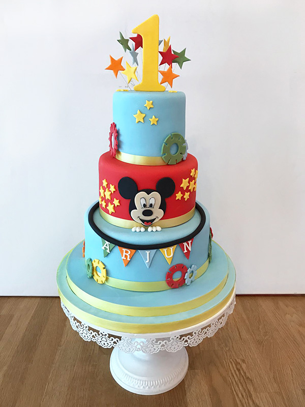 Astounding Mickey Mouse 1St Birthday Cake The Cakery Leamington Spa Personalised Birthday Cards Veneteletsinfo