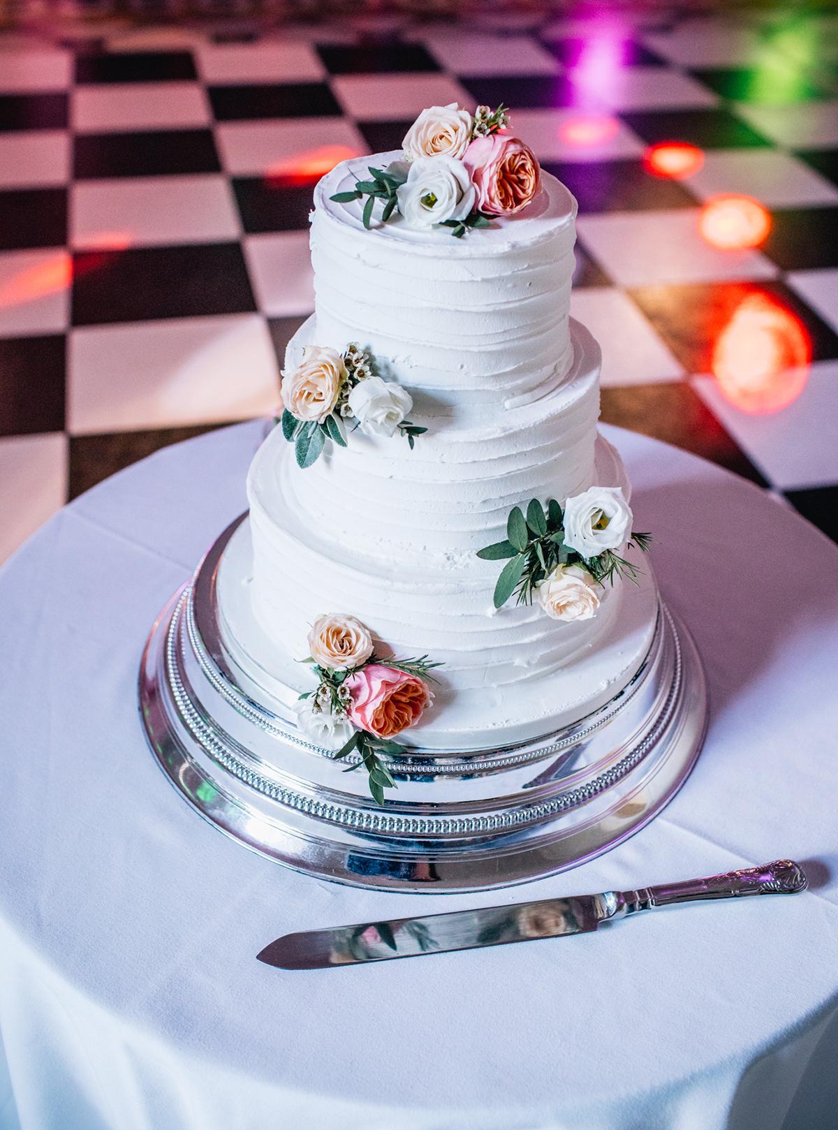 Rustic Wedding Cake with Orange Flowers