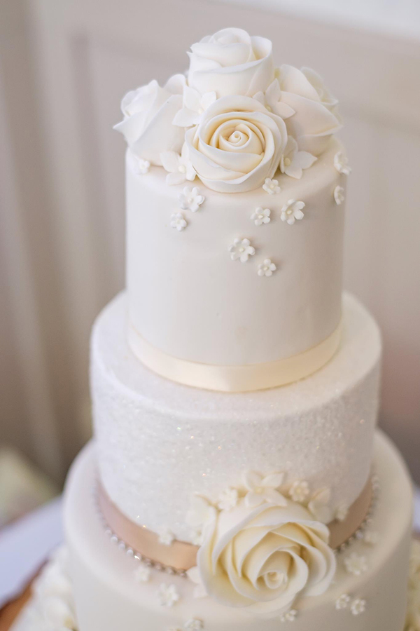Ivory and Champagne Wedding Cake Closeup 1