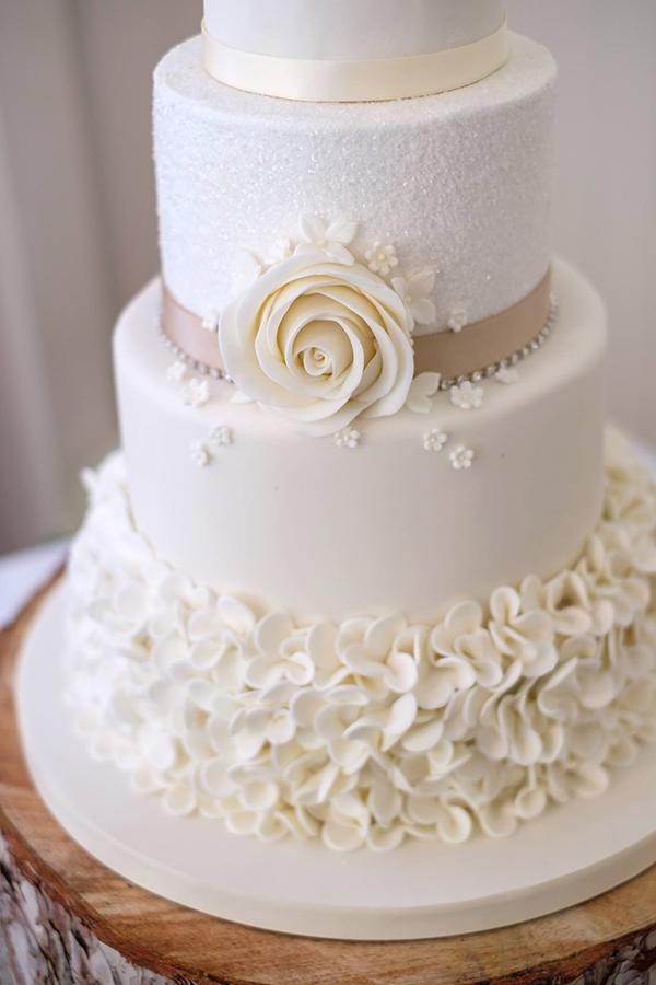 Ivory and Champagne Wedding Cake Closeup 2