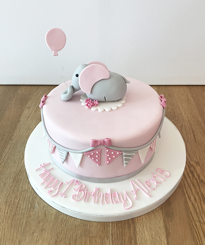 Pink Elephant 1st Birthday Cake