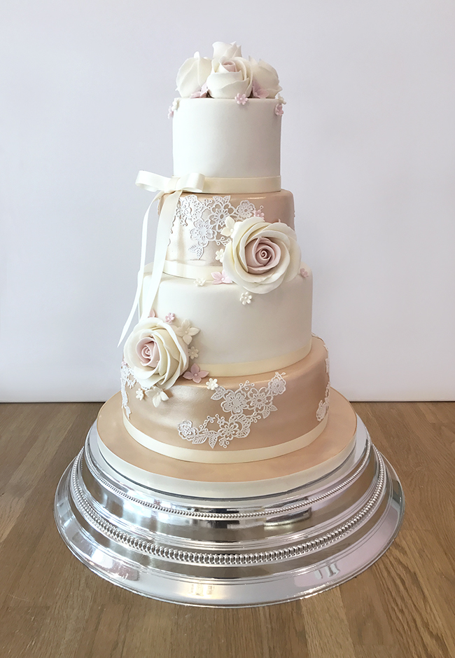 Rose Gold and Lace Wedding Cake