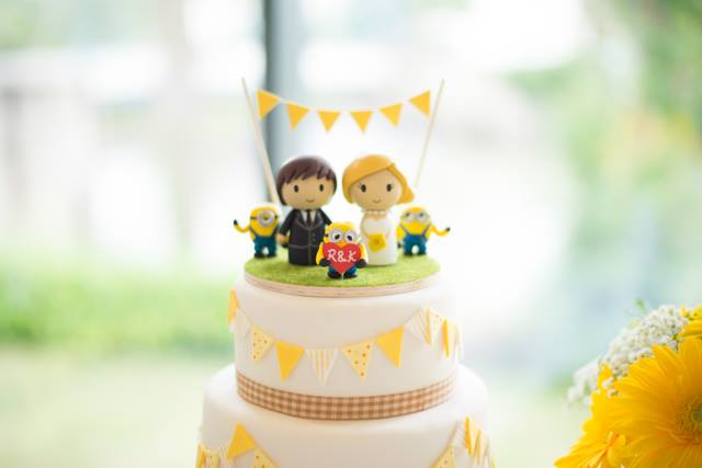 Yellow Bunting Wedding Cake Top