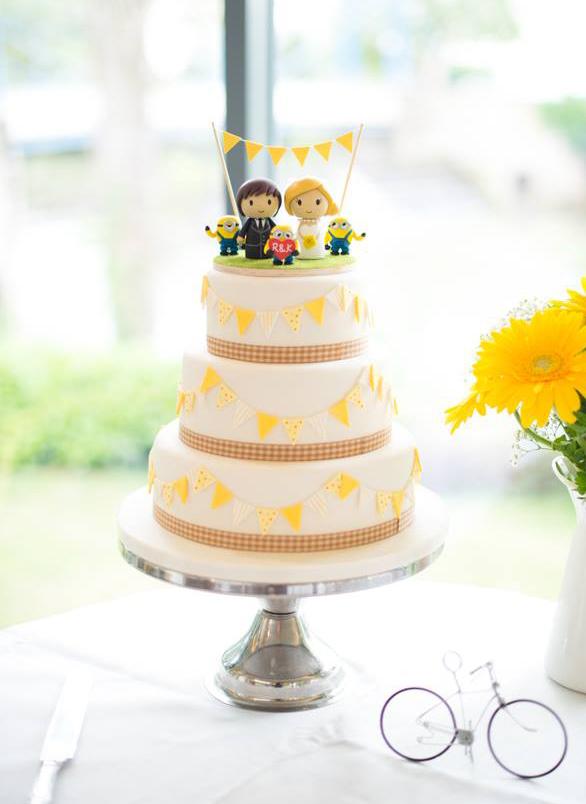 Yellow Bunting Wedding Cake
