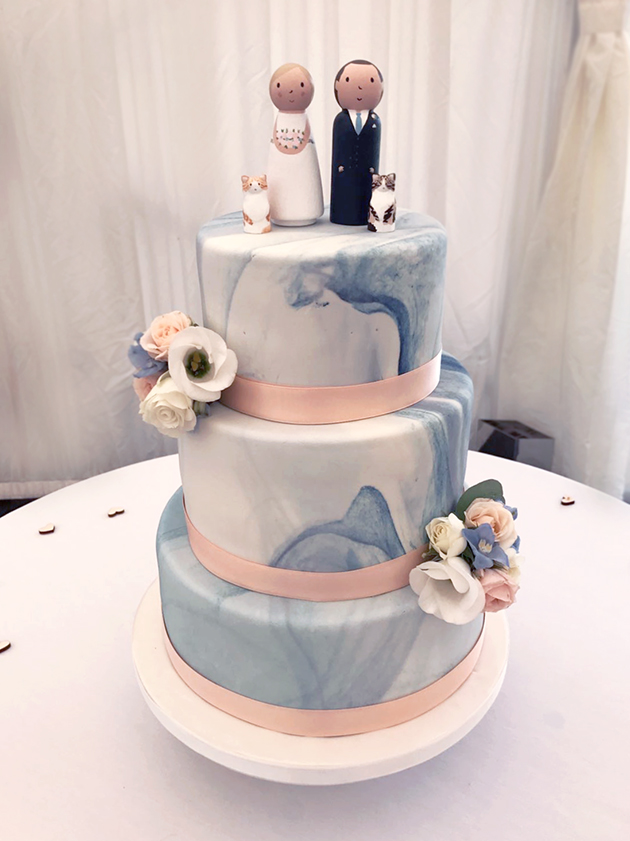Blue Marble Effect Wedding Cake with Bride and Groom